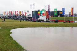 Fans and atmosphere at a wet and muddy Silverstone