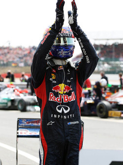 Race winner Mark Webber, Red Bull Racing celebrates in parc ferme