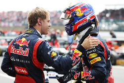 Race winner Mark Webber, Red Bull Racing celebrates in parc ferme with team mate Sebastian Vettel, Red Bull Racing