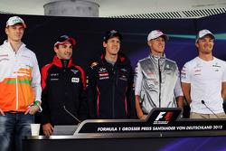 Nico Hulkenberg, Sahara Force India F1; Timo Glock, Marussia F1 Team; Sebastian Vettel, Red Bull Racing; Michael Schumacher, Mercedes AMG F1; Nico Rosberg, Mercedes AMG F1