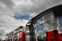 Dark clouds over the circuit, paddock atmosphere