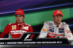 The FIA Press Conference, Fernando Alonso, Scuderia Ferrari, race winner; Jenson Button, McLaren, third