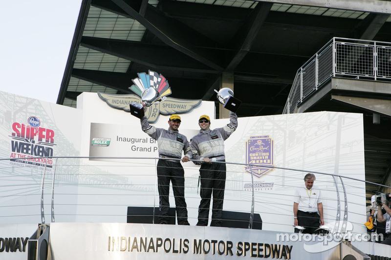 GT podium: winners Andy Lally, John Potter
