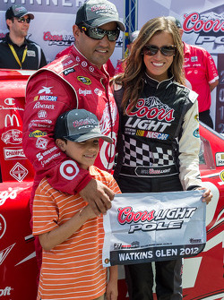 Pole winner Juan Pablo Montoya with his son Sebastien