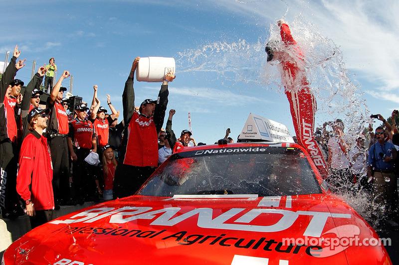 Victory lane: race winner Justin Allgaier