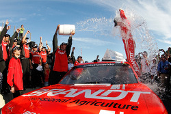 Victory lane: race winner Justin Allgaier