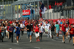 Fans invade the track