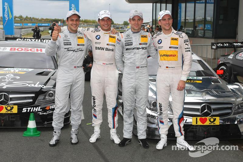 Eerste vier, Gary Paffett, Team HWA AMG Mercedes, AMG Mercedes C-Coupe, Bruno Spengler, Team HWA AMG Mercedes, AMG Mercedes C-Coupe en Dirk Werner, BMW Team Schnitzer BMW M3 DTM
