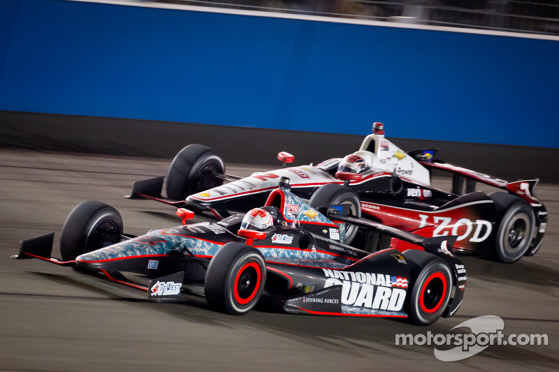 J.R. Hildebrand, Panther Racing Chevrolet and Ryan Briscoe, Team Penske Chevrolet