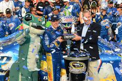 Victory lane: race winner Brad Keselowski, Penske Racing Dodge celebrates