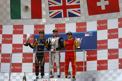 Podium: race winner Max Chilton, second place Esteban Gutierrez, third place Fabio Leimer