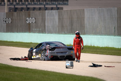 Heavy crash for #00 Ferrari of Houston 458TP: Owen Kratz, driver coach Anthony Lazzaro out of the car