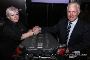 Erebus Motorsport owner Betty Klimenko and V8 Supercar Chairman Tony Cochrane announce the AMG V8 entry
