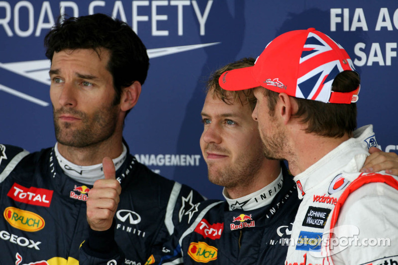Pole winner Sebastian Vettel, Red Bull Racing, second place Mark Webber, Red Bull Racing, third place Jenson Button, McLaren