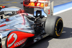 Jenson Button, McLaren exhaust and rear suspension detail