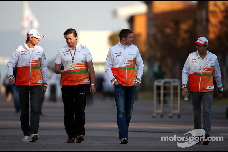 Nico Hulkenberg, Sahara Force India Formula One Team, Paul di Resta, Sahara Force India Formula One Team and Jules Bianchi, Sahara Force India Formula One Team