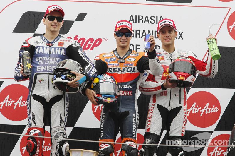 2012 podium with winner Dani Pedrosa, Jorge Lorenzo and Alvaro Bautista