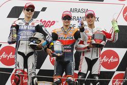 Podium: Sieger Dani Pedrosa, Repsol Honda Team; 2. Jorge Lorenzo, Yamaha Factory Racing; 3. Alvaro Bautista, Honda Gresini