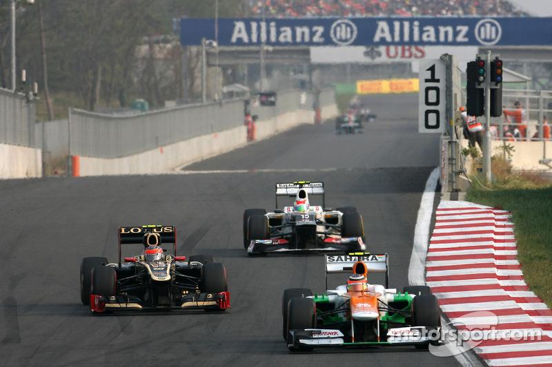 Romain Grosjean, Lotus F1 Team en Nico Hulkenberg, Sahara Force India Formula One Team