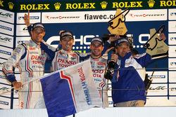 Overall podium: winners Alexander Wurz, Nicolas Lapierre, Kazuki Nakajima