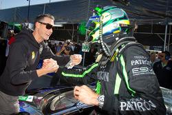 GT pole winner Guy Cosmo celebrates with Johannes van Overbeek