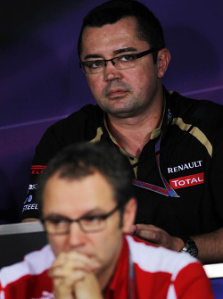 Eric Boullier, Lotus F1 Team Principal and Stefano Domenicali, Ferrari General Director in the FIA Press Conference