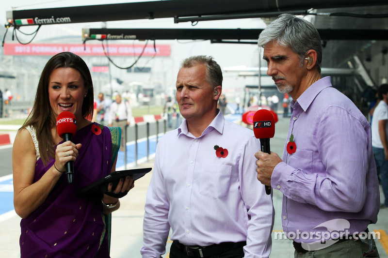 Natalie Pinkham, Sky Sports Presenter with Johnny Herbert, Sky Sports F1 Commentator and Damon Hill, Sky Sports Presenter