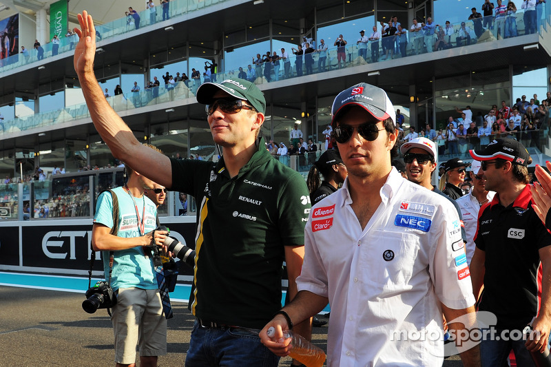 Vitaly Petrov, Caterham and Sergio Perez, Sauber on the drivers parade