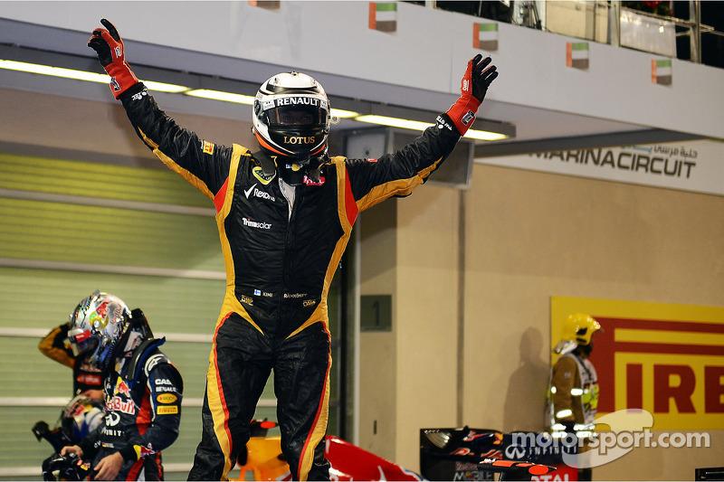 Race winner Kimi Raikkonen, Lotus F1 Team celebrates in parc ferme