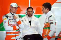 Nico Hulkenberg, Sahara Force India F1, with team mate Paul di Resta, Sahara Force India F1