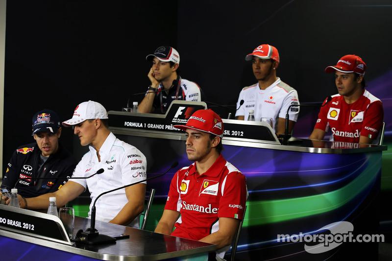 The FIA Press Conference, Bruno Senna, Williams; Lewis Hamilton, McLaren; Felipe Massa, Ferrari; Sebastian Vettel, Red Bull Racing; Michael Schumacher, Mercedes AMG F1; Fernando Alonso, Ferrari