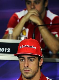 Fernando Alonso, Ferrari en Felipe Massa, Ferrari in de FIA persconferentie