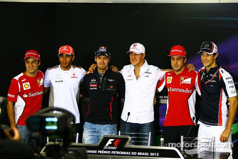 Die FIA-Pressekonferenz: Felipe Massa, Ferrari; Lewis Hamilton, McLaren; Sebastian Vettel, Red Bull Racing; Michael Schumacher, Mercedes AMG F1; Fernando Alonso, Ferrari; Bruno Senna, Williams