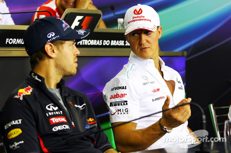 Sebastian Vettel, Red Bull Racing and Michael Schumacher, Mercedes AMG F1 in the FIA Press Conferenc