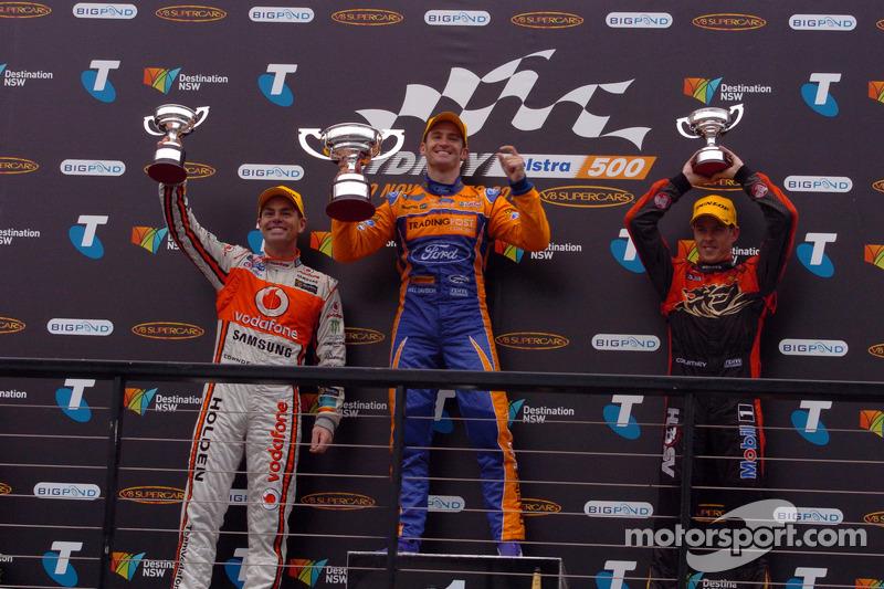 Podium: race winner Will Davison, second place Craig Lowndes, third place James Courtney
