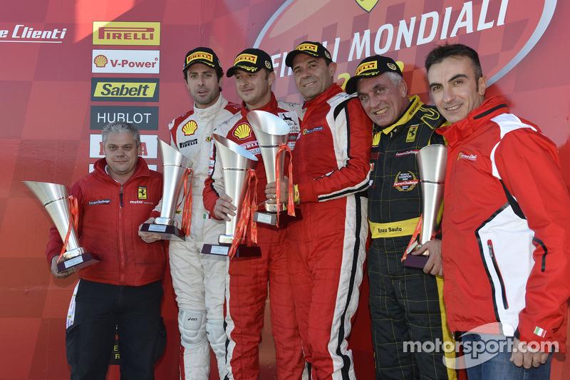 Coppa Shell, Europe race 2 podium: race winner Francisco Guedes, second place Raffaele Giannoni, third place Renato di Amato