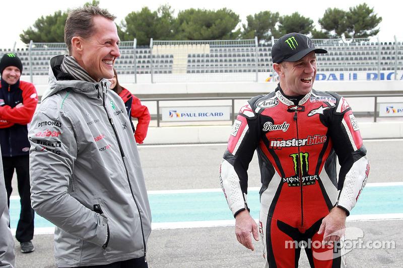 Michael Schumacher and Randy Mamola