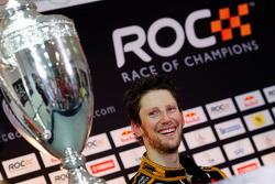 Winner Romain Grosjean celebrates