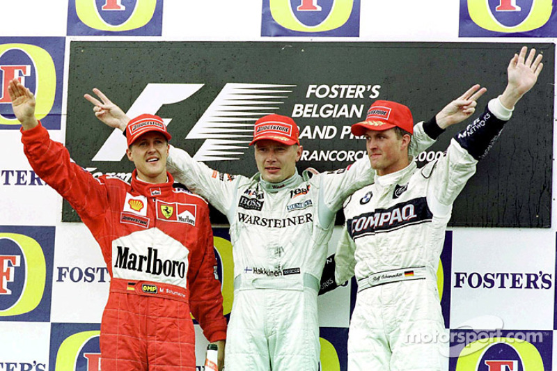 2000: 1. Mika Häkkinen, 2. Michael Schumacher, 3. Ralf Schumacher