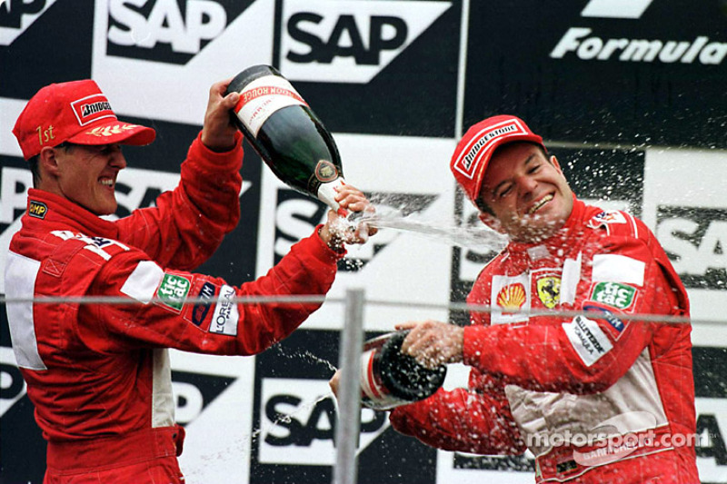 Podium: race winner Michael Schumacher and second place Rubens Barrichello