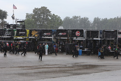 Rain falls on the garage area