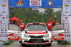 Second place Gaurav Gill, Stéphane Prévot, Skoda Fabia R5, Team MRF
