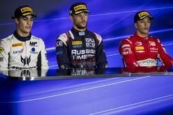 Press Conference: second place Sergio Sette Camara, MP Motorsport, Race winner Luca Ghiotto, RUSSIAN TIME, third place Antonio Fuoco, PREMA Powerteam