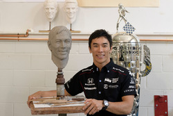 Takuma Sato with the Borg-Warner Trophy bust