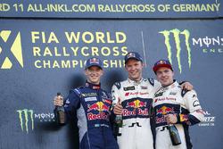 Podium: winner Mattias Ekström, EKS RX Audi S1, second place Timmy Hansen, Team Peugeot Hansen, third place Toomas Heikkinen, EKS RX Audi S1