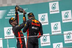 Daniel Ricciardo, Red Bull Racing and race winner Max Verstappen, Red Bull Racing celebrate on the podium