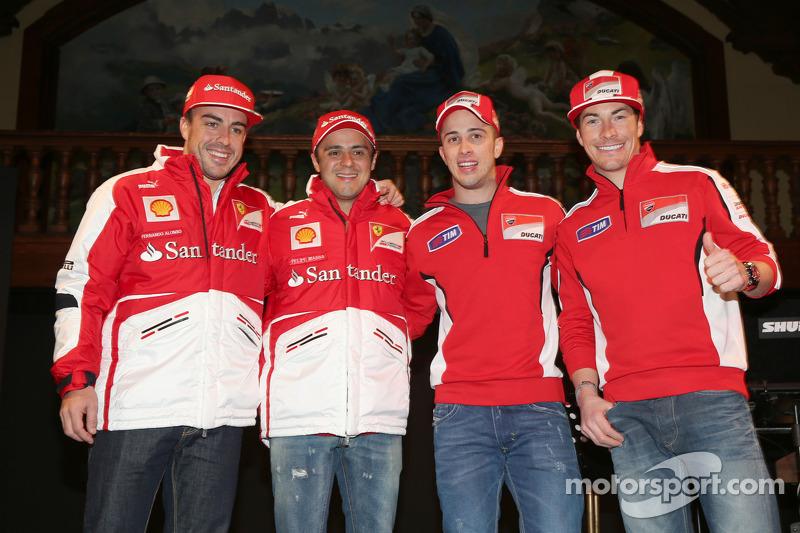 Fernando Alonso y Felipe Massa, Scuderia Ferrari y Andrea Dovizioso y Nicky Hayden, Ducati Marlboro Team