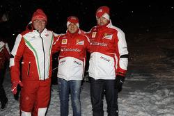 Fernando Alonso and Felipe Massa, Scuderia Ferrari conStefano Domenicali