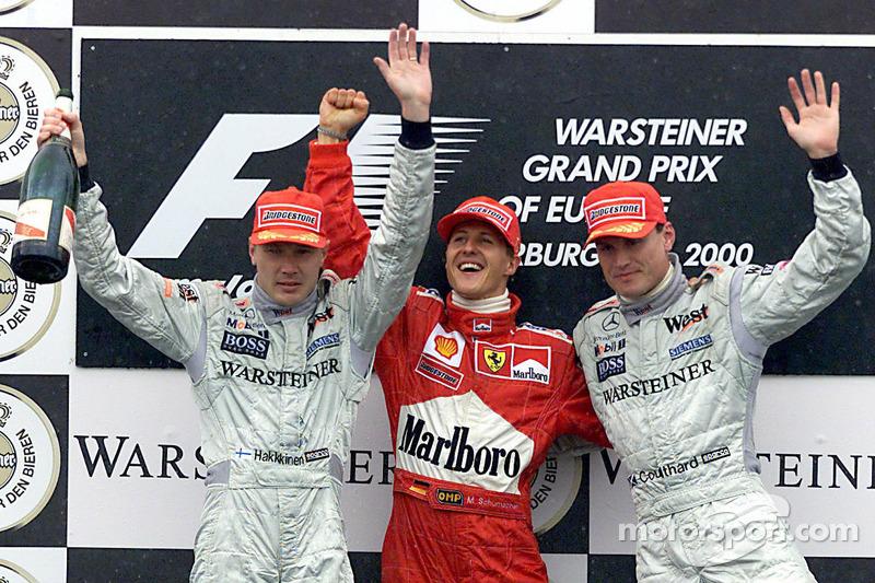2000: 1. Michael Schumacher, 2. Mika Häkkinen, 3. David Coulthard