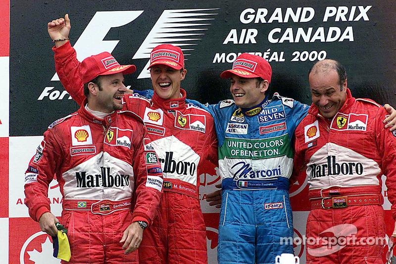 2000: 1. Михаэль Шумахер, 2. Рубенс Баррикелло, 3. Джанкарло Физикелла